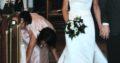 Brudekjole med slæb og indbygget corsage I satin m